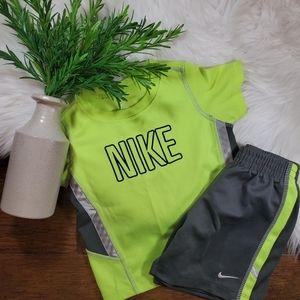 Nike Yellow/Gray Shirt/Short Set | 24m